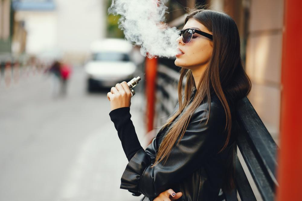 lady vaping outside